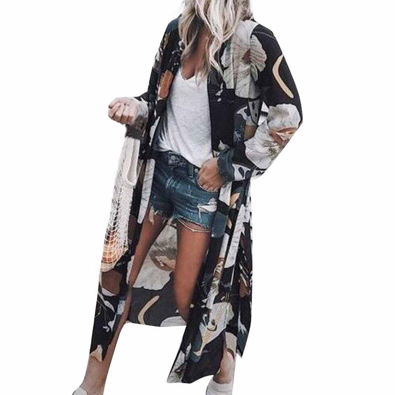 Mujeres Tops❤️EUZeo❤️Las Mujeres gasas Chal Flojo Estampado Kimono Cardigan Top Cover Up Blusa Beachwear Chaqueta Jersey De Abrigo Chaqueta