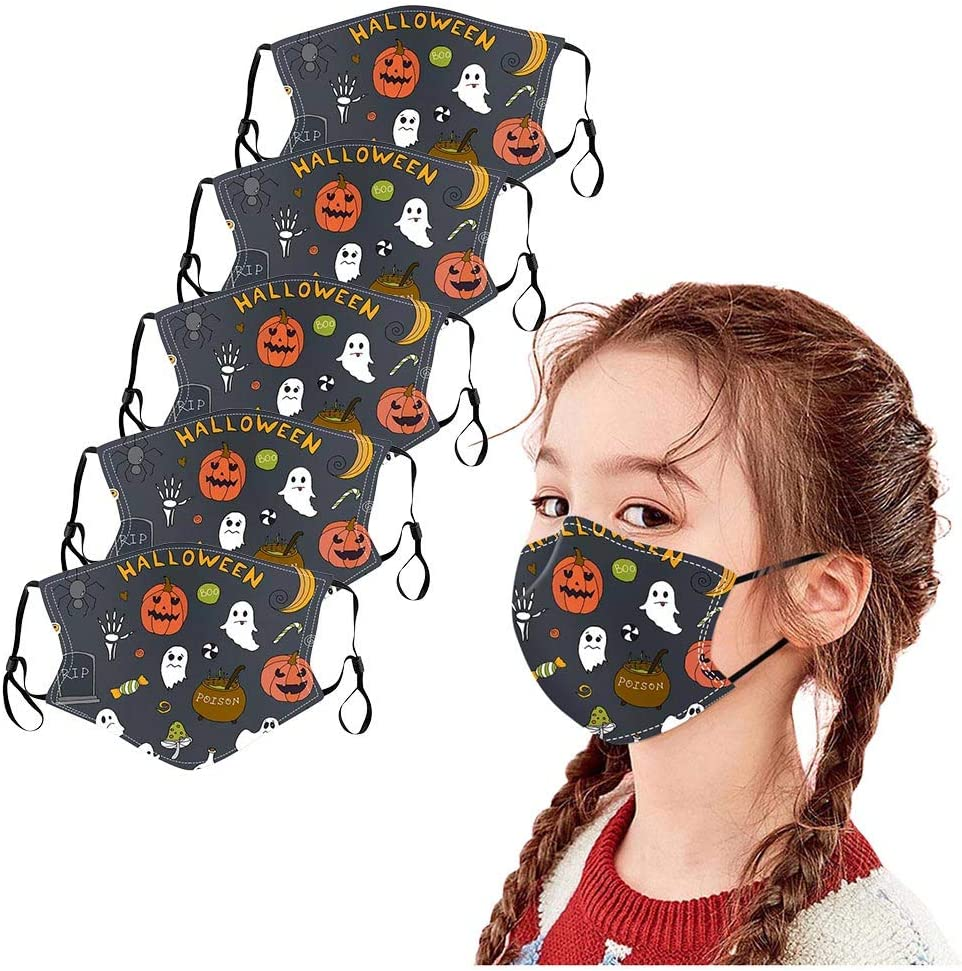 Dinnesis 5 Packs Halloween Face Fabric, Reusable Washable Polyester Face Bandanas with Funny Print Breathable Face Cloth to Windproof, Dust Proof, Anti-Haze for Children Kids C