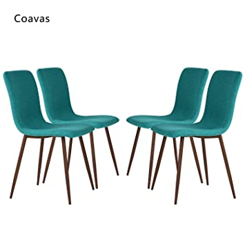 Set Of 4 Dining Chairs Coavas Fabric Cushion Kitchen Chairs With Sturdy  Metal Legs For Dining