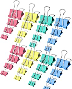 Binder Clips, Fowateda 160PCS Paper Clamps with Assorted Colors and Four Sizes in One Pack, Large, Medium, Small and X Small