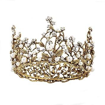 94dc088335 Amazon.com : Round Full Circle Bride Crown, Baroque Rhinestone ...