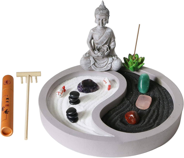Mini Zen Garden kit for Desk - yin yang Crystal Sand Garden - with Zen rake Buddha Statue Healing Stones White Sand - Japanese Rock Garden Meditation Gift Set for Home Office Desktop Fidget Toys