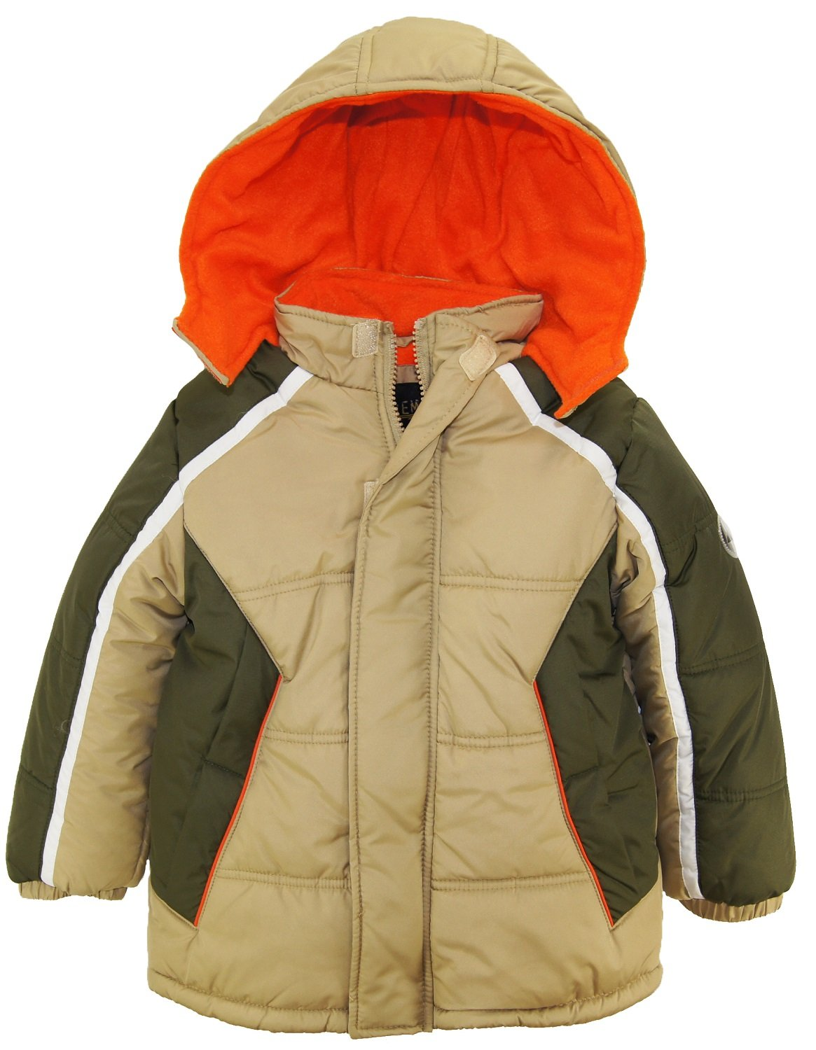 iXtreme Little Boys' Cut and Sew Colorblock Puffer, Sand, 5