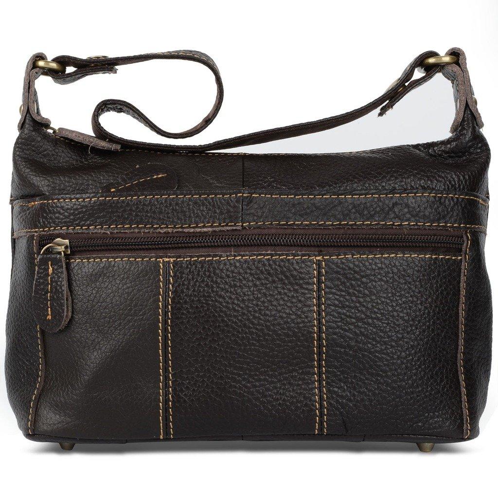 YALUXE Women's Cowhide Leather Mini Size Small Crossbody Shoulder Bag Vintage Style Dark Brown