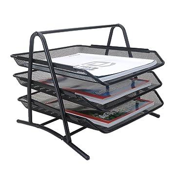 Aibecy 3-Tier archivo carta bandeja estante de malla de Metal negro para oficina