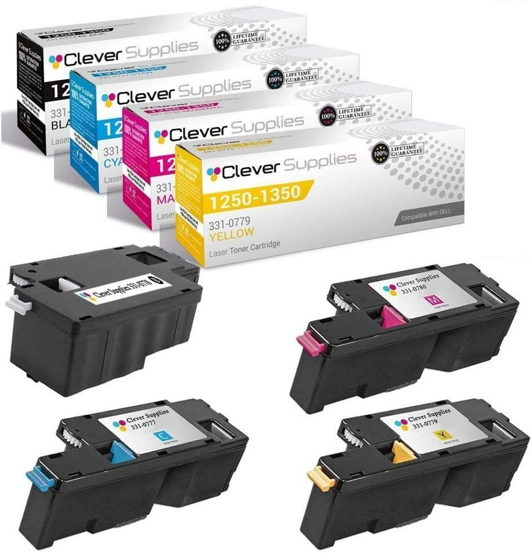 CS Compatible Toner Cartridge Replacement for Dell 1250 331-0778 Black 331-0777 Cyan 331-0779 Yellow 331-0780 Magenta 1355cn 1355cnw 1350cnw C1765 1250c C1760 C1765nf 1350 C1765nfw 4 Color Set