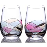 Hand Painted Stemless Wine Glasses by Sonoma Artisan, Set of 2. Ideal for Casual Entertaining, Unique Gift Idea, Romantic Night in, or Just Elevating Your Wine Enjoyment