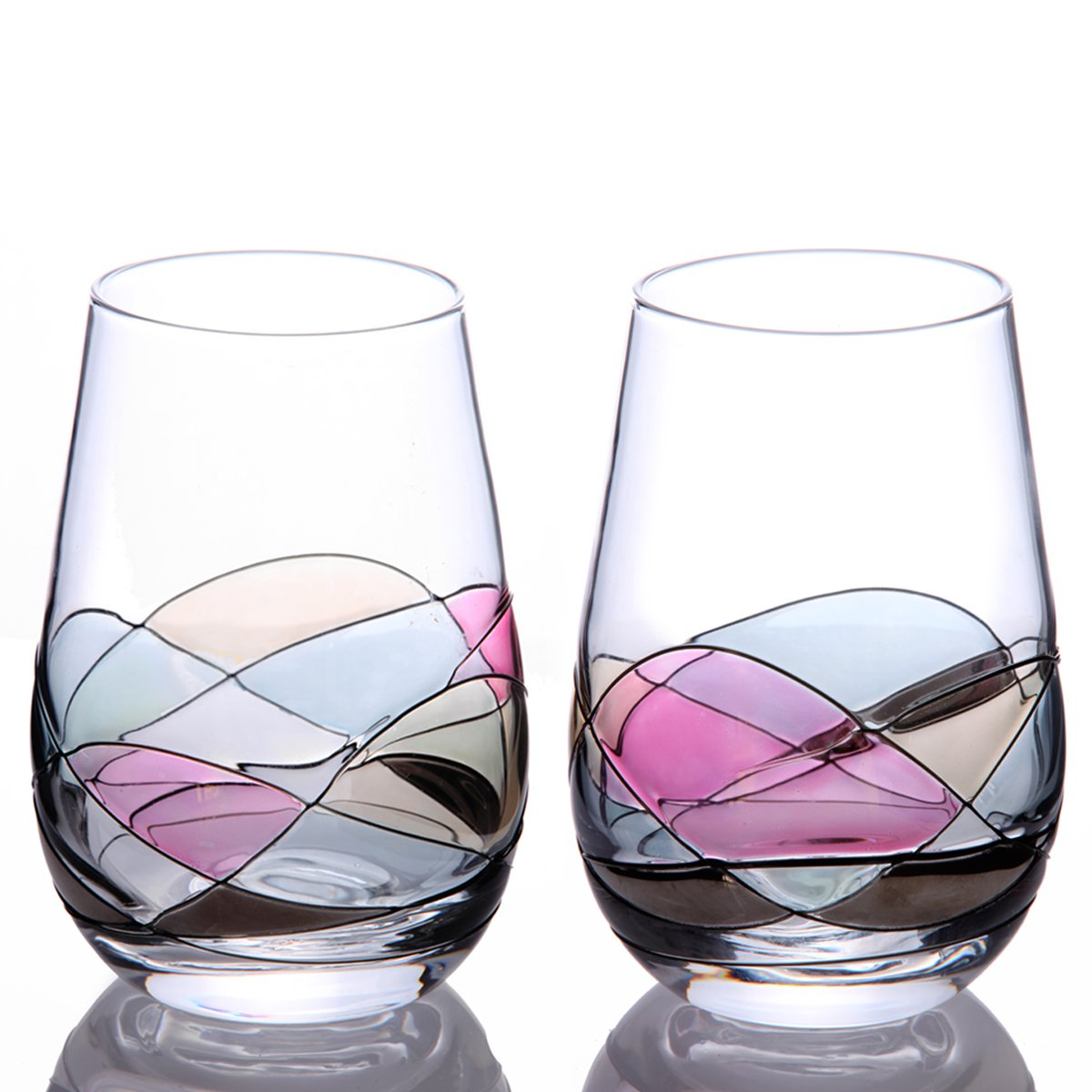 Handcrafted and Painted Stemless Wine Glasses by Sonoma Artisan, Set of 2. Ideal for Casual Entertaining, Unique Gift Idea, Romantic Night in, or Just Elevating Your Wine Enjoyment