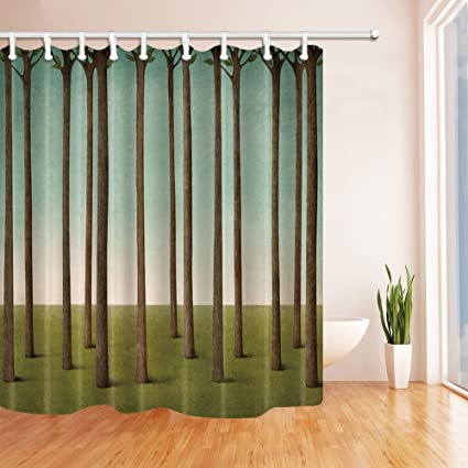 Retro Literary Meadows Straight Tree Trunks Pattern Noval Safety Green Shower Curtain 70x70 Inches Waterproof Mildew