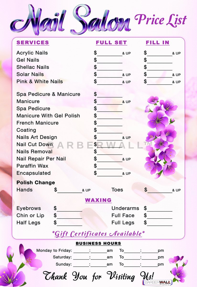 Nail Salon Price List Poster by Barberwall , Nail Salon Decor , Nail salon  poster , Dimension 24 x 36 Laminated for fade prevention. YOU WILL LOVE IT