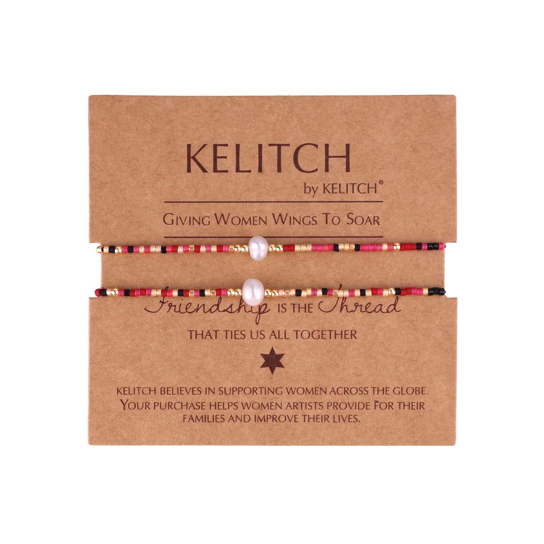 KELITCH 2 Pcs Seed Bead Friendship Bracelets Handmade Shell Pearl Adjustable String Bracelets Fashion Jewelry Kelitch Jewelry UZHK-180001A