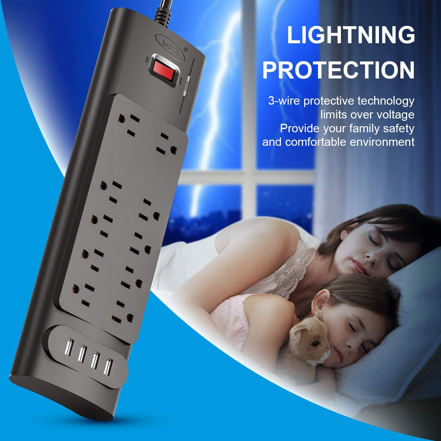 Power Strip, bototek Surge Protector with 10 AC Outlets and 4 USB Charging Ports,1875W/15A, 2100 Joules, 6 Feet Long Extension Cord for Smartphone Tablets Home,Office, Hotel- Black