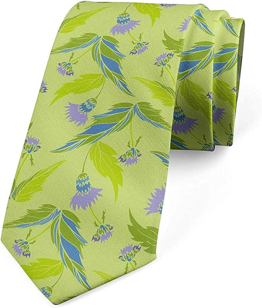 Mathillda Corbata para hombres, hojas y flores abstractas, verde ...
