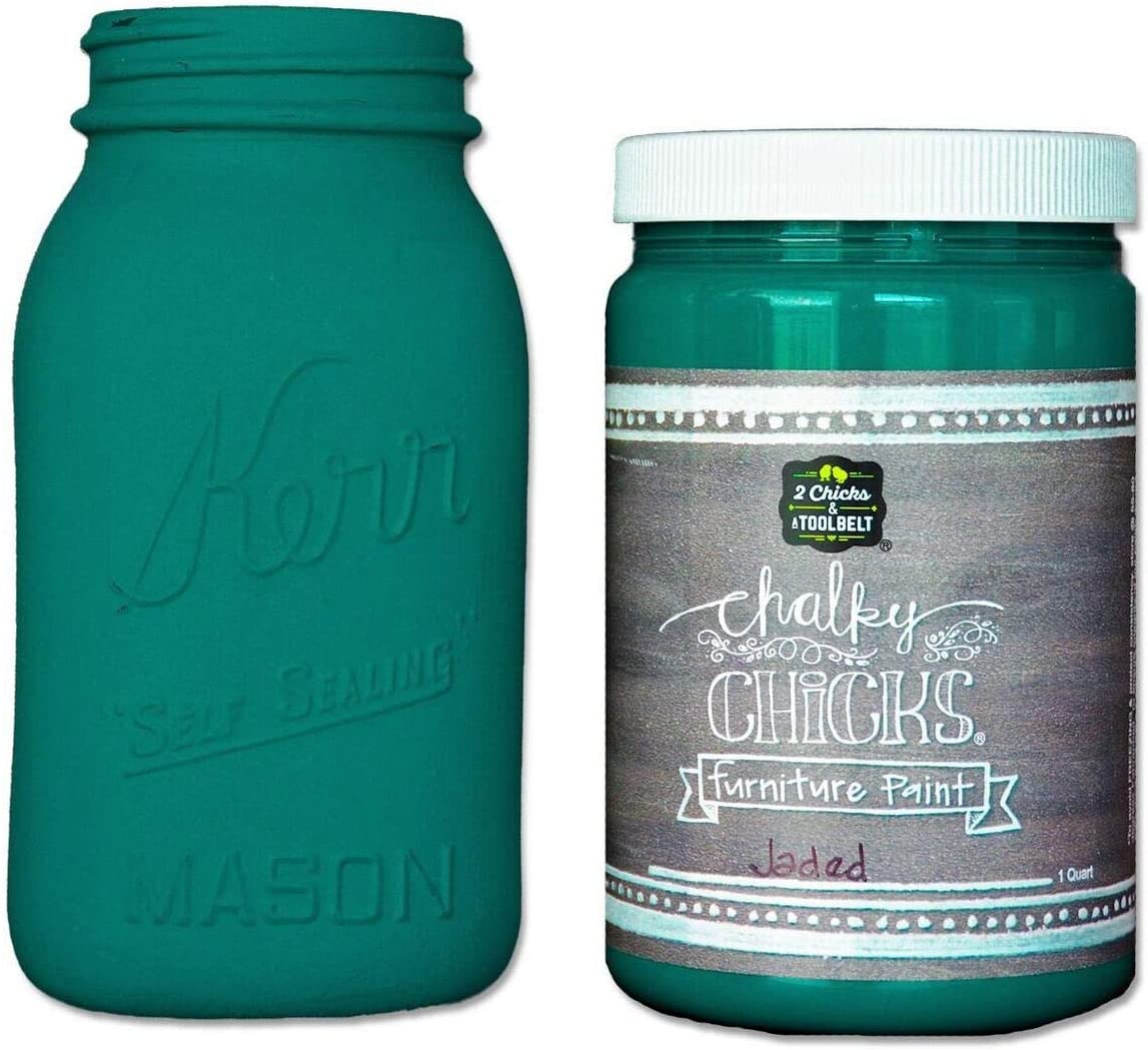 Chalky Chicks | Chalk Finish Paint | Perfect for Furniture, Cabinets, Home Decor, & DIY Craft Projects | 32 oz | Jaded