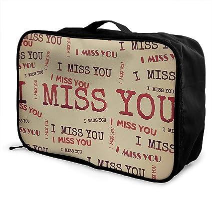 d1a52129af04 Amazon.com: Fashion Portable Luggage Bag I Miss You Funny Logo ...