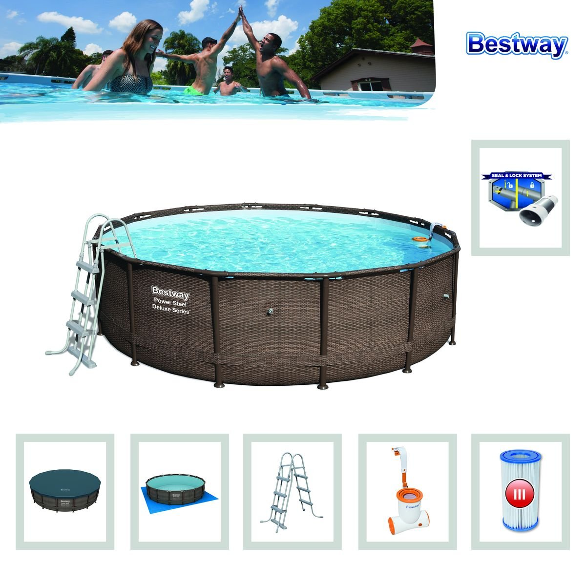 Bestway 56664 Piscina Power Steel Diseño Rattan, 13030 litros, M: Amazon.es: Jardín