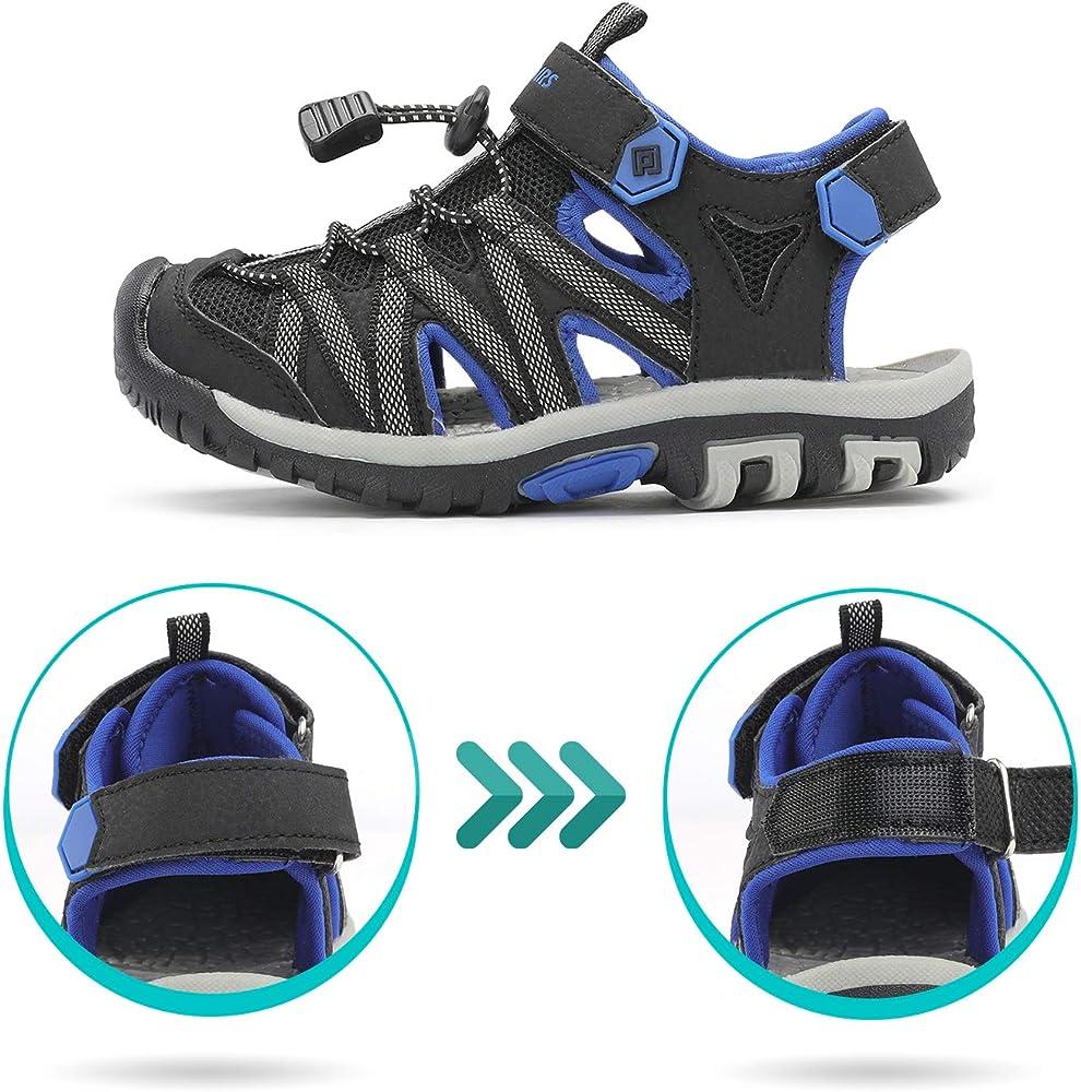 Dream Pairs 181108K Sandalias Deportivas Verano con Punta Cerrada para Unisex Niños Negro Gris Azul 26 EU/8 US Toddler: Amazon.es: Zapatos y complementos