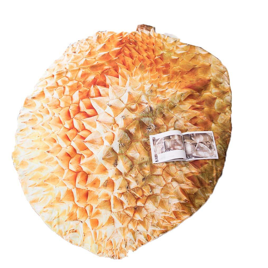3D独特のフルーツプリントキルトブランケット、面白いフードラップブランケットラウンドスロー、夏の軽量の掛け布団洗える低刺激性マイクロファイバー寝具クイーン/キング,Durian,220×240cm B07S7J5J9B Durian 220×240cm