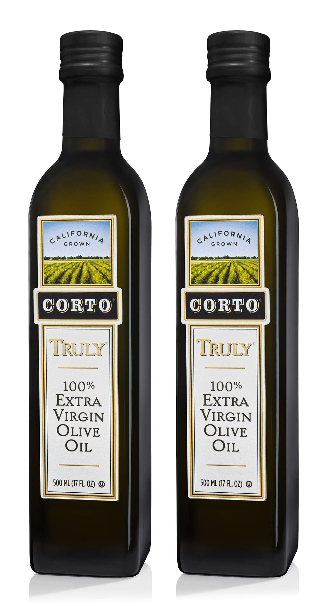 Corto TRULY® | 100% Extra Virgin Olive Oil | Floral Notes | Cold Extracted in State-of-the-Art Mill | Straight from Official Corto Olive Groves & Oil Producer | 500 mL | Twin Pack (2)