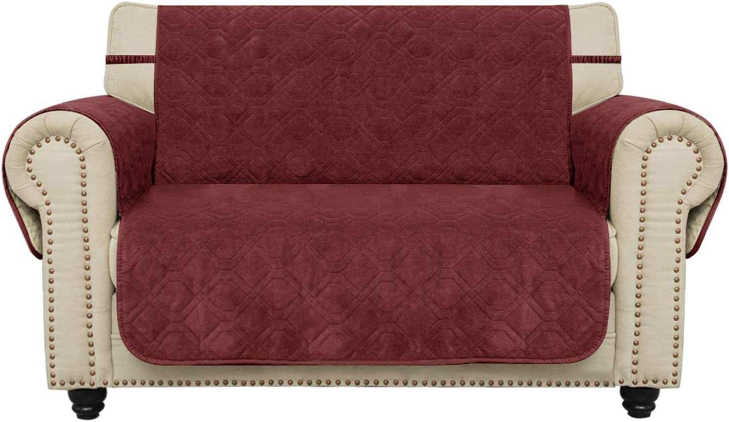 Ameritex Waterproof Loveseat Cover Oversized Coral Fleece Furniture Protector Anti-Slip Updated Pattern Supper Soft and Warm Pet Sofa Cover for Dogs and Children (Burgundy, Loveseat(Oversized))