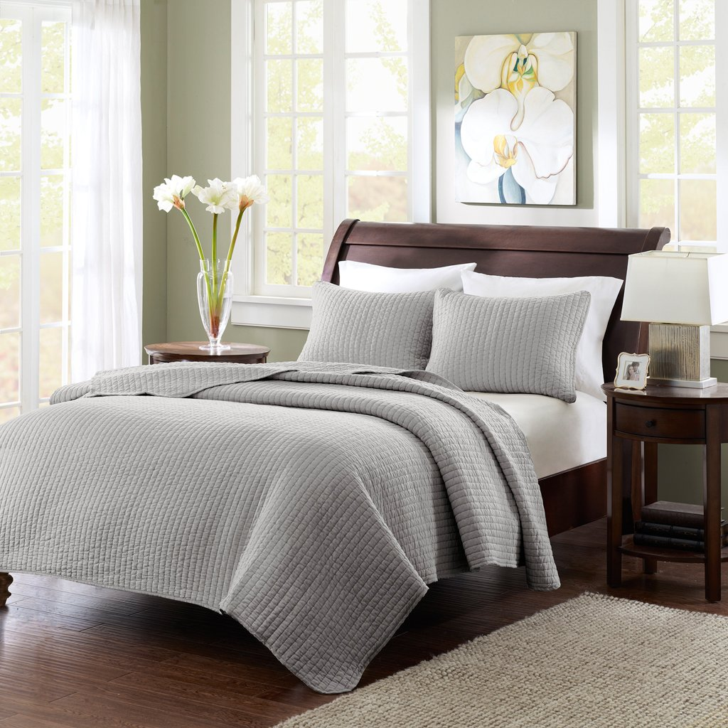 Madison Park Keaton King Size Quilt Bedding Set - Grey, Quilted – 3 Piece Bedding Quilt Coverlets – Ultra Soft Microfiber Bed Quilts Quilted Coverlet