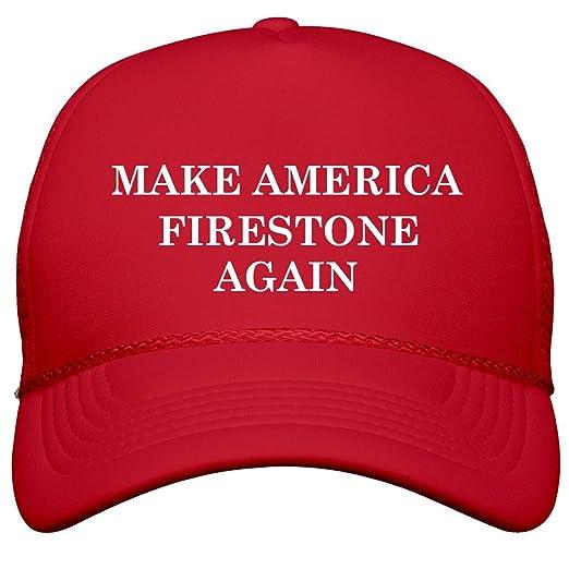 Amazon.com  Make America Firestone Again  Film and Foil Solid Color Snapback  Trucker  Clothing d7e35e3deea