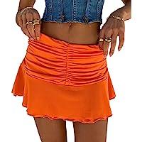 NUFIWI Women Girls Sexy Lace Mesh Skirt Ruffle Pleated Patchwork Mini Tennis Skirt Harajuku Y2K Style