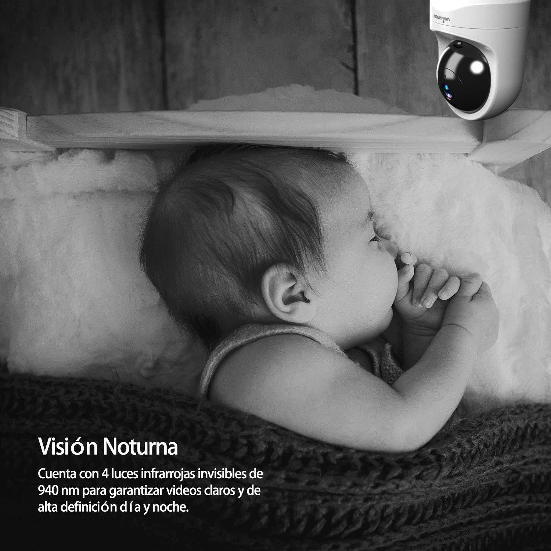 Wansview C/ámara IP WiFi 1080P C/ámara Vigilancia WiFi con Visi/ón Noturna Detecci/ón de Movimiento Audio Bidireccional C/ámara de Seguridad para Beb/é y Mascotas Compatible con Alexa Q6 Blanco