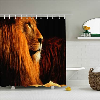 Animal Lion Shower Curtains Size 69x84 Inch