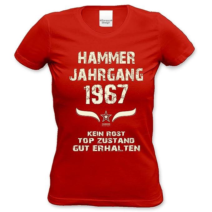Originelles Geschenk für Frauen : Hammer Jahrgang 1967 :::  Geburtstagsgeschenk Weihnachtsgeschenk - lustiges Fun-T-Shirt Damen Mädchen  Farbe: rot Gr: S: ...