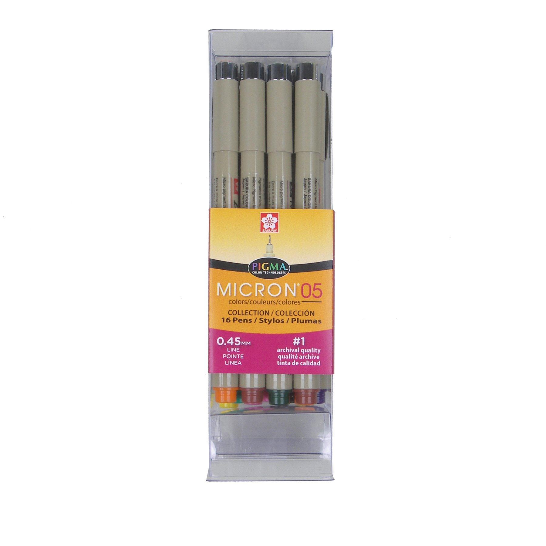 Sakura 50075 16-Piece Pigma Micron 05 Assorted Colors Cube Collection Ink Pen Set