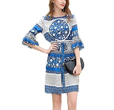 WoooInn Summer A-Line Print Above Knee Flare Sleeve O-Neck Casual Short Vestidos