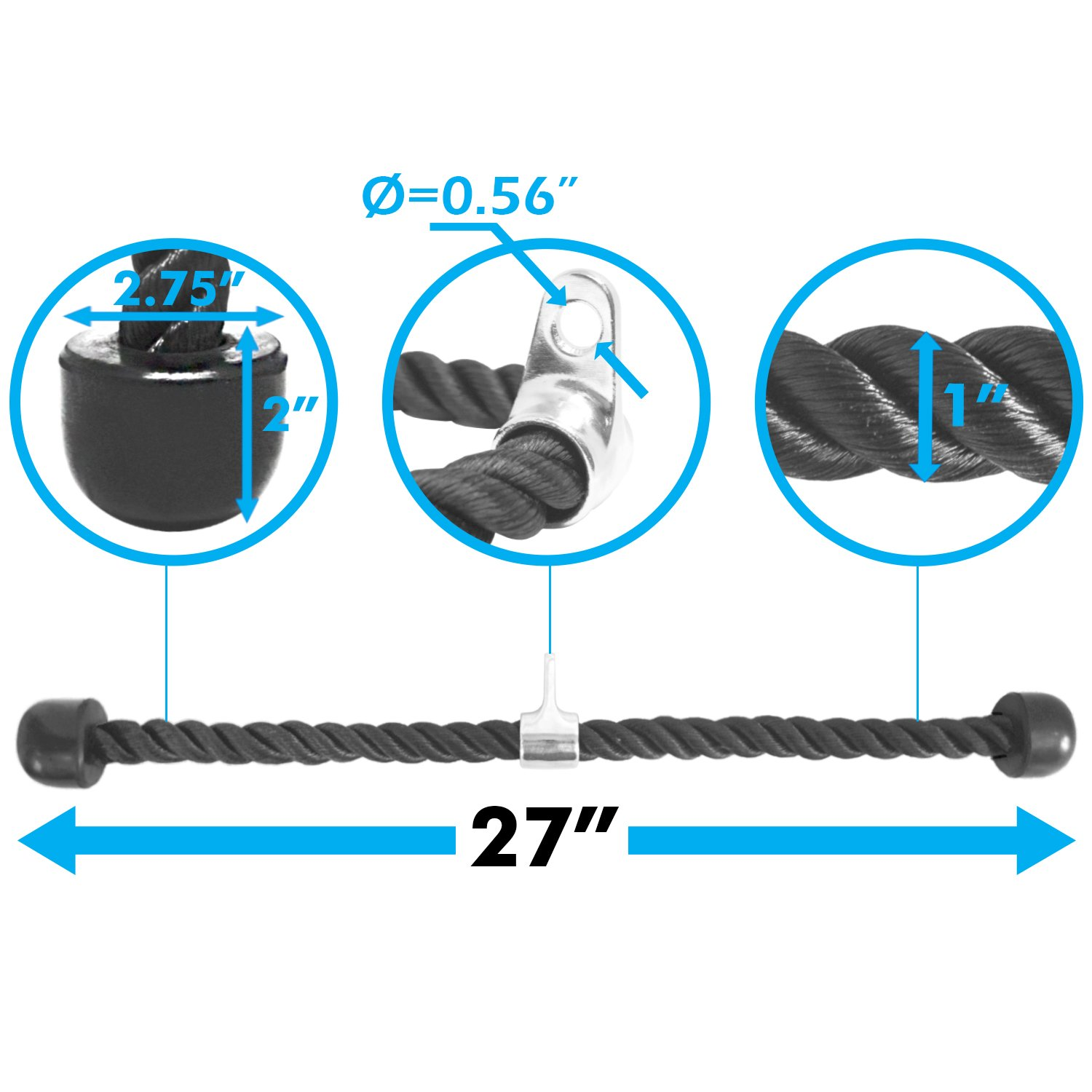 A2ZCARE Combo Tricep Press Down Cable Attachment | Multi-Option: Double D Handle, V-Shaped Bar, Tricep Rope, Rotating Straight Bar (V Handle + Tricep Rope) by A2ZCARE (Image #5)