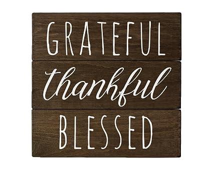 Amazon.com: Elegant Signs Grateful Sign Wall Decor with Thankful ...