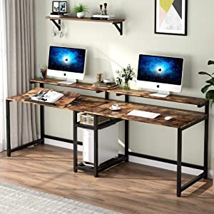 TIYASE 78.7 inch Computer Desk with Storage Shelves, Extra Long Two Person Desk with Hutch, Double Workstation Home Office Desk Writing Table with Tiltable Tabletop and Monitor Stand(Rustic Brown)