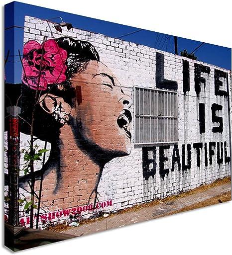 Banksy Life Is Beautiful Woman Modern Street Art Wall Art Canvas Print 40x30 Inches Amazon Co Uk Kitchen Home