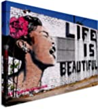 Banksy Life Is Beautiful Woman - Modern Street Art Wall Art Canvas Print 20x30 inches
