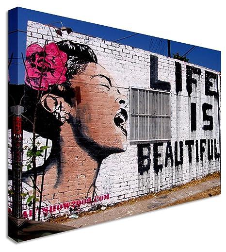 Banksy Life Is Beautiful Woman Modern Street Art Wall Art Canvas