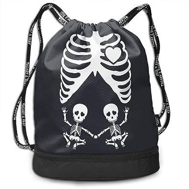 Accessories Gymsack Skull Skeleton Print Drawstring Bags Simple Hiking Sack Gym Bags
