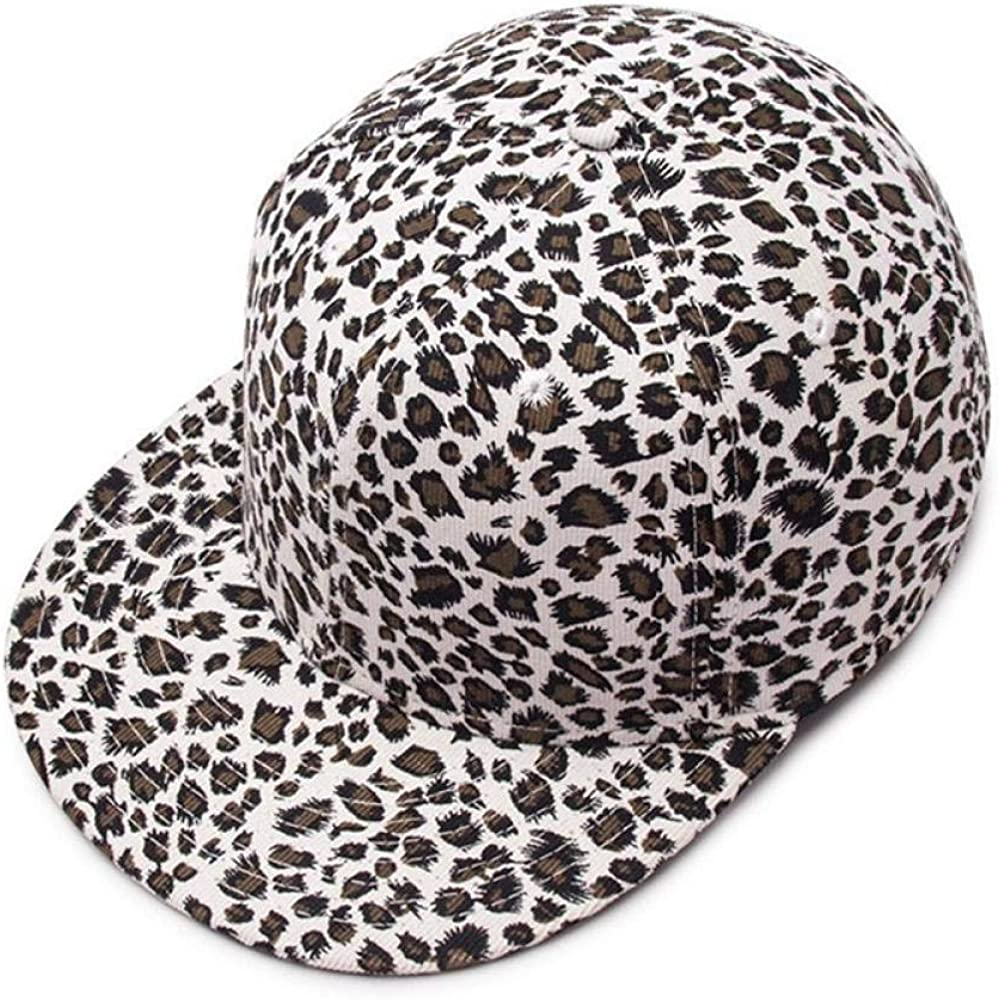 Solid Color Skateboard Hats Men Bboy Flat Snapback Cap Adult Hip Hop Leopard Baseball Caps Leopard