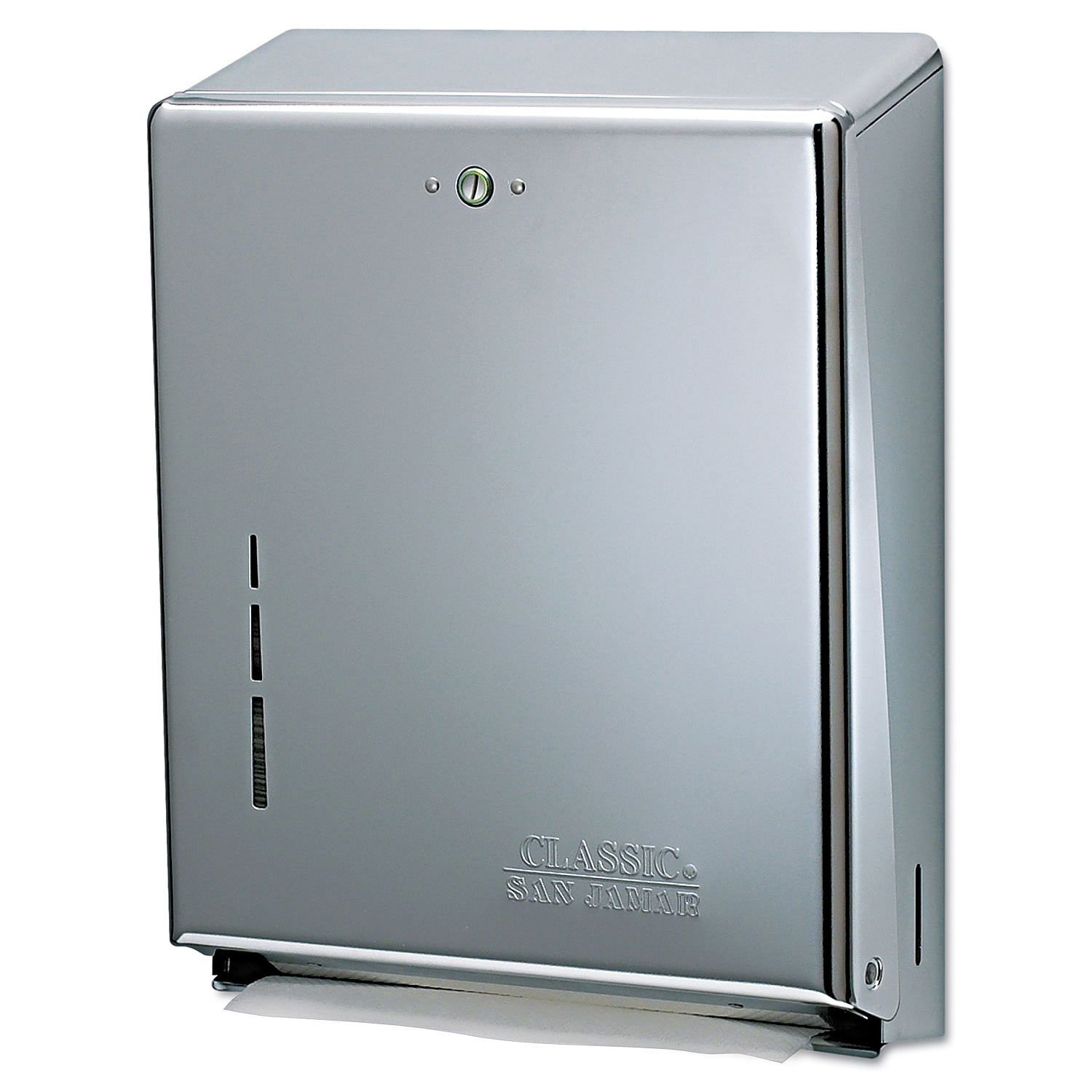 San Jamar T1900SS C-Fold/Multifold Commercial Towel Dispenser, 500 Multifold / 300 C-Fold Towel Capacity, Stainless Steel
