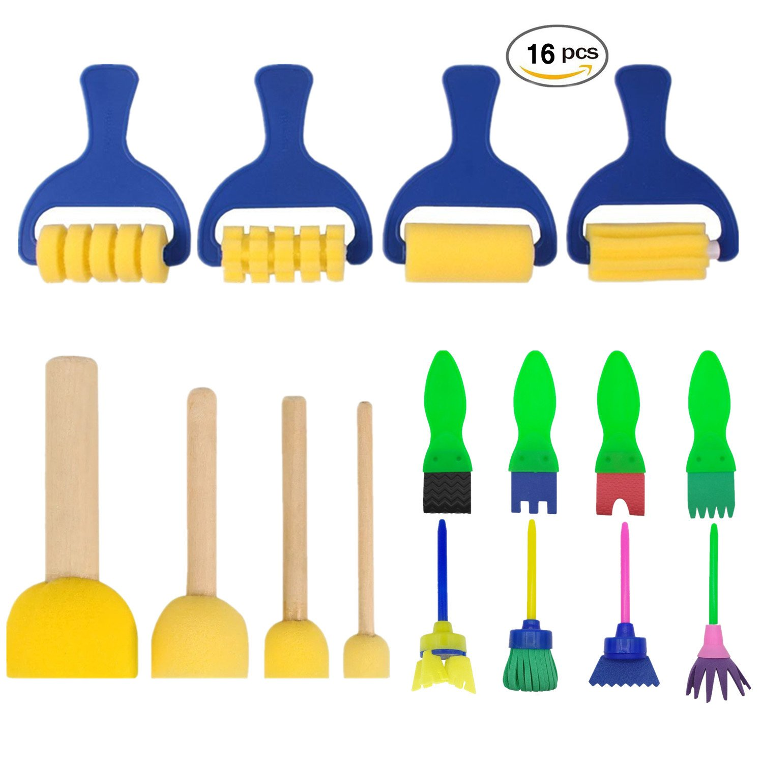 YOUR GALLERY 16 Pack Early Learning Mini Flower Foam Brushes Sponge Painting Brushes Craft Brushes Set for Kids