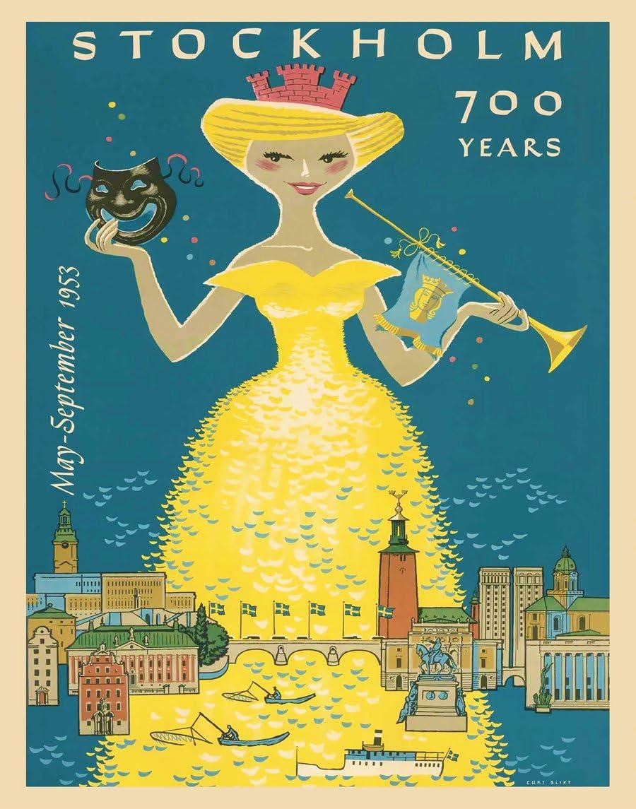 Sweden Swedish Stockholm Scandinavia Vintage Travel Poster Art Advertisement