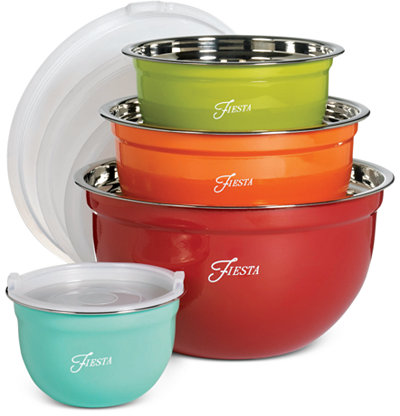 Fiesta Stainless Steel 8-Pc. Lidded Mixing Bowl Set - Serveware - Dining & Entertaining - Macy's
