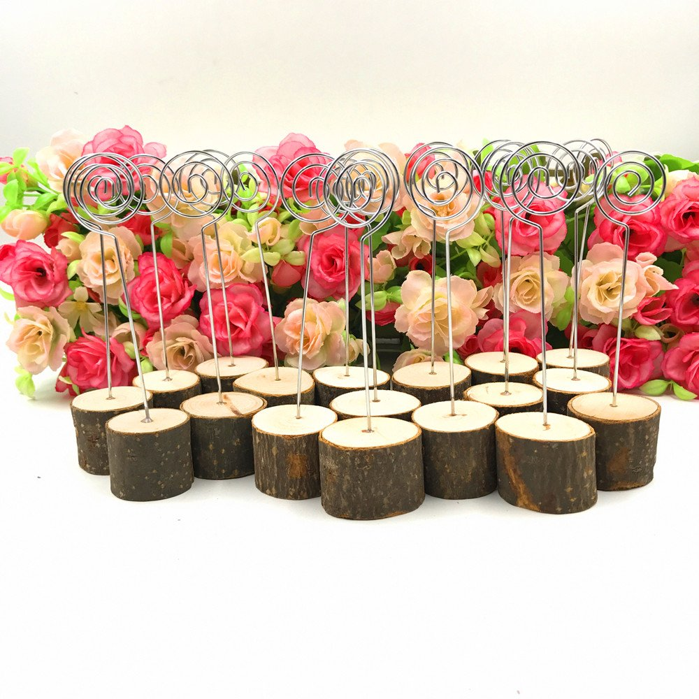 senover Rustic Real Wood Base Wedding Table Name Number Holder Party Decoration Card Holders Picture Memo Note Photo Clip Holder (20pcs table numbers) by senover