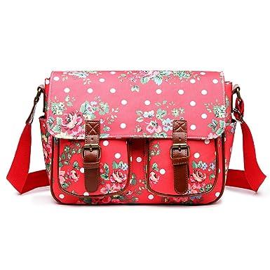 Miss Lulu Canvas Prints Satchel Messenger Shoulder Bag (Flower Plum)