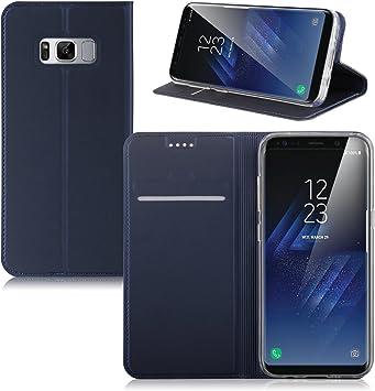 IVSO Funda Samsung Galaxy S8 Plus Slim Flip Cover Carcasa Cubierta de Cuero PU Multi-Angle Shockproof Silicio Inner Funda Protectora para Samsung Galaxy S8 Plus Smartphone (Azul): Amazon.es: Electrónica