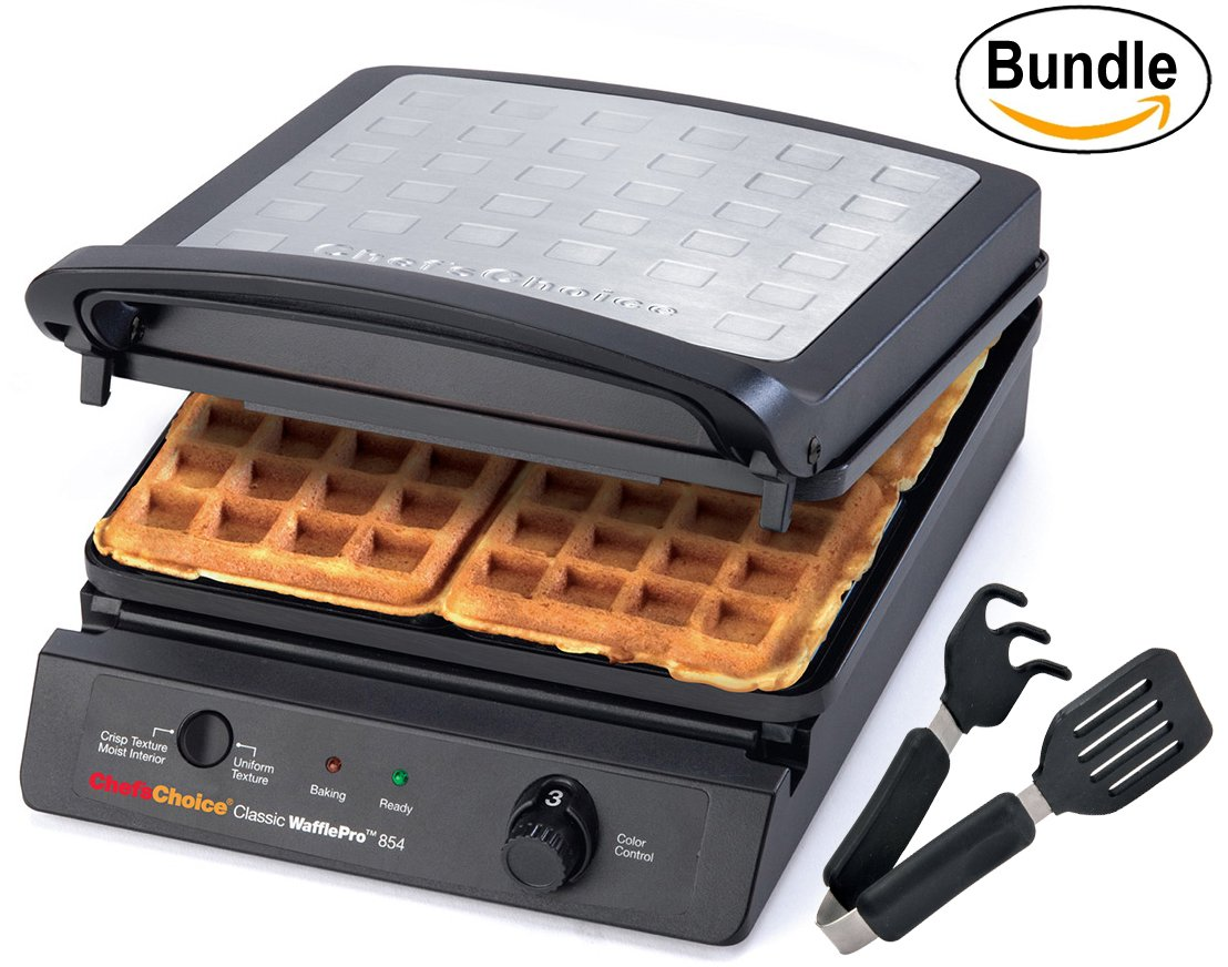 Chef'sChoice 854 International Classic WafflePro 4-Square Waffle Maker Model 854 & Zonoz ez-Mini Grab and Lift Silicone Tongs (Bundle) by Chef's Choice (Image #1)