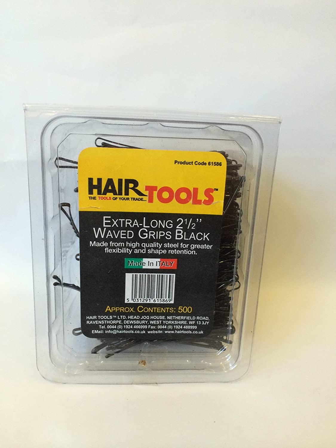 HAIR TOOLS EXTRA-LONG 2 1/2 INCH WAVED BLACK GRIPS 500 BOX 61586