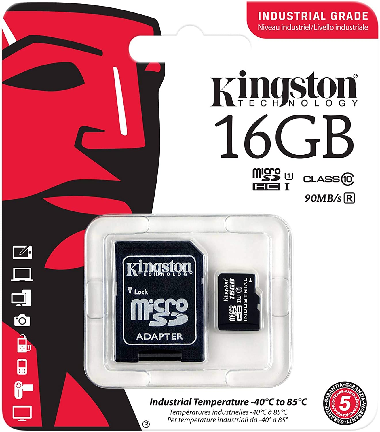 Kingston Industrial Grade 16GB NOA N7 MicroSDHC Card Verified by SanFlash. 90MBs Works for Kingston